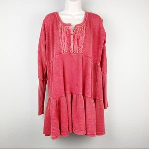 Free People Jolene red waffle knit tiered shirt